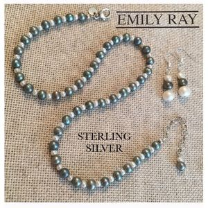 Emily Ray Grey White Real Pearl Necklace Sterling